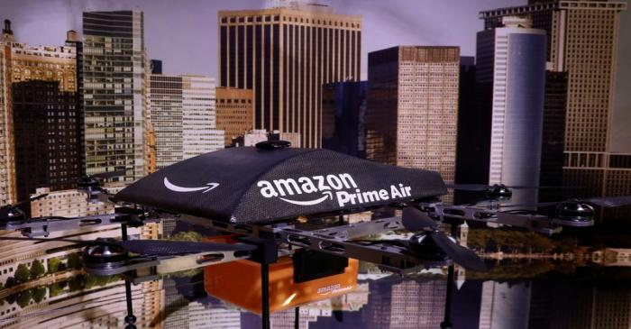 An Amazon Prime Air Flying Drone is displayed during the 'Drones: Is the Sky the Limit?'