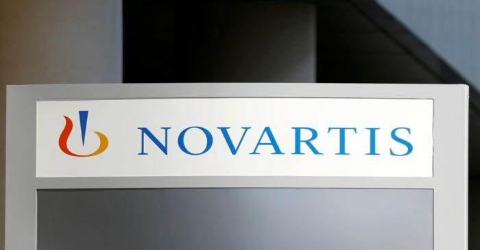 FILE PHOTO: The logo of Swiss drugmaker Novartis is pictured at the French company's