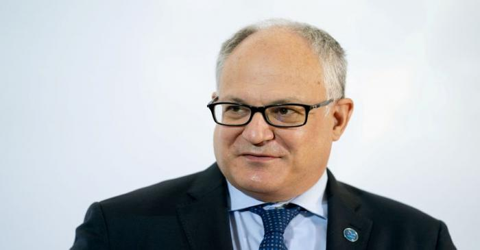 FILE PHOTO: Italian Economy Minister Roberto Gualtieri speaks at a meeting in  Berlin, Germany