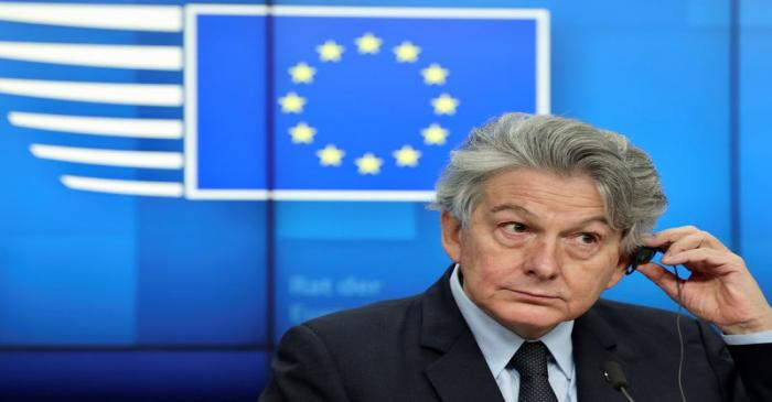 European Commissioner for Internal Market and Services Thierry Breton atetnds a news conference