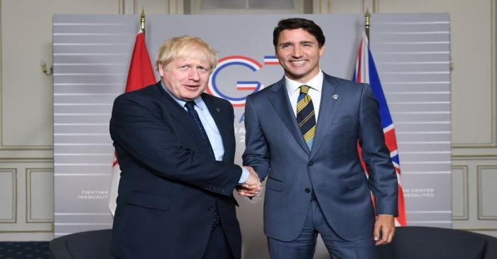 PMs Johnson and Trudeau at G7 summit 2019 in Biarritz