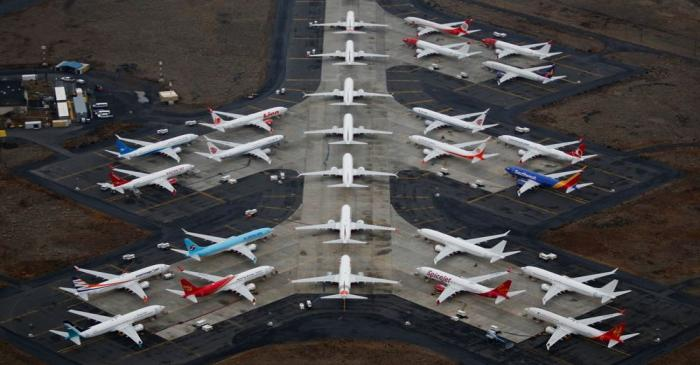 Grounded Boeing 737 MAX aircraft are seen parked at Grant County International Airport in Moses