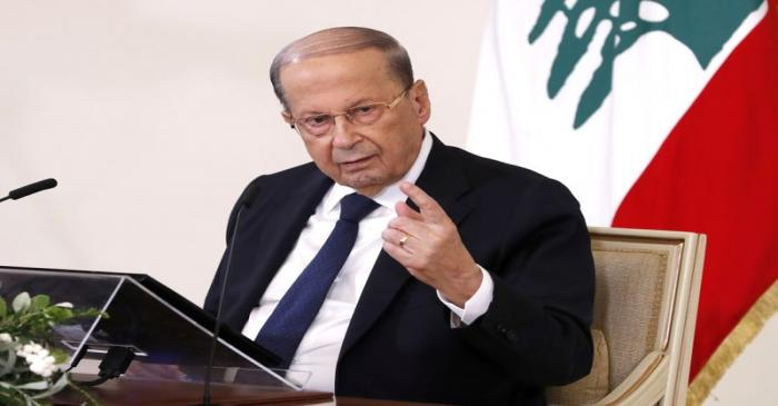 Lebanon's President Michel Aoun speaks during a news conference at the presidential palace in