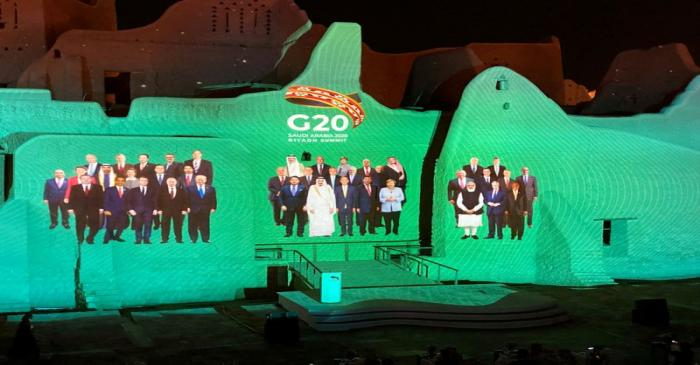 FILE PHOTO: Family Photo of G20 Leaders' Summit is projected onto Salwa Palace in At-Turaif, in