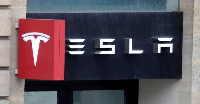 FILE PHOTO: Logo of Tesla