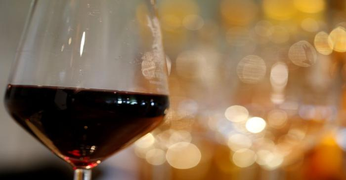 FILE PHOTO: A glass of French red wine is displayed at the Chateau du Pavillon in