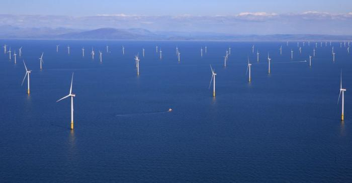 FILE PHOTO: General view of the Walney Extension offshore wind farm operated by Orsted off the