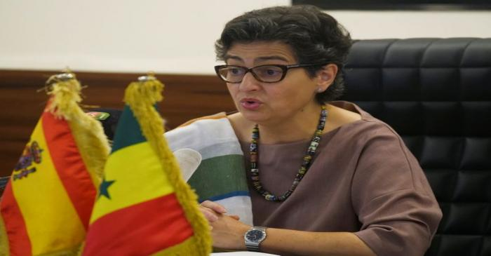 FILE PHOTO: Spanish Minister of Foreign Affairs Arancha Gonzalez Laya speaks as she attends a