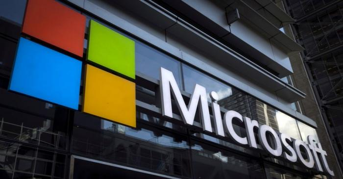 FILE PHOTO: Microsoft logo on an office building in New York