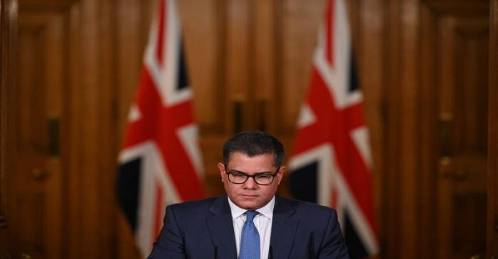 Britain's Business Secretary Alok Sharma attends a virtual news conference on COVID-19 at 10