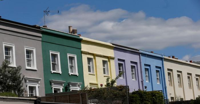 A row of houses are seen in London