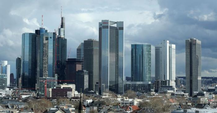 FILE PHOTO: The financial district with Germany's Deutsche Bank and Commerzbank is pictured in