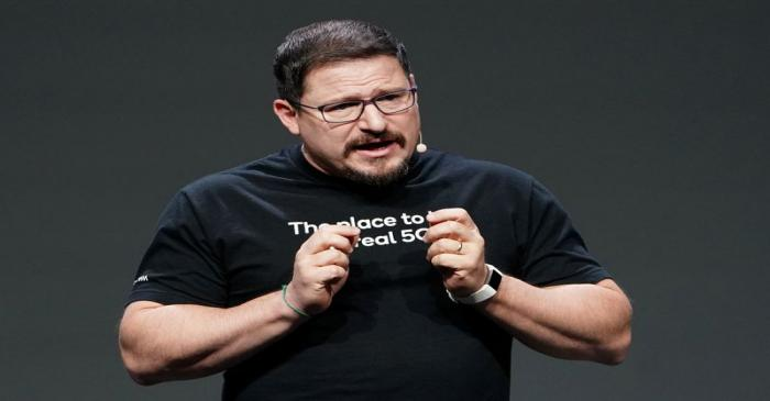 Qualcomm President Cristiano Amon is pictured during a launch event for the new OnePlus 6T in