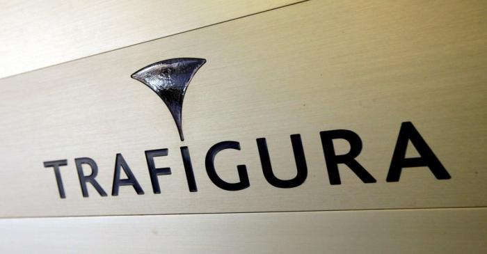 FILE PHOTO: Trafigura logo is pictured in the company entrance in Geneva