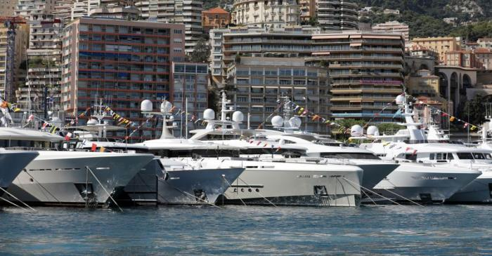 Luxury boats are seen during Monaco Yacht Show