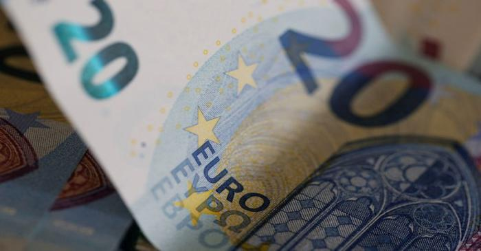 20 Euro banknotes are seen in a picture illustration
