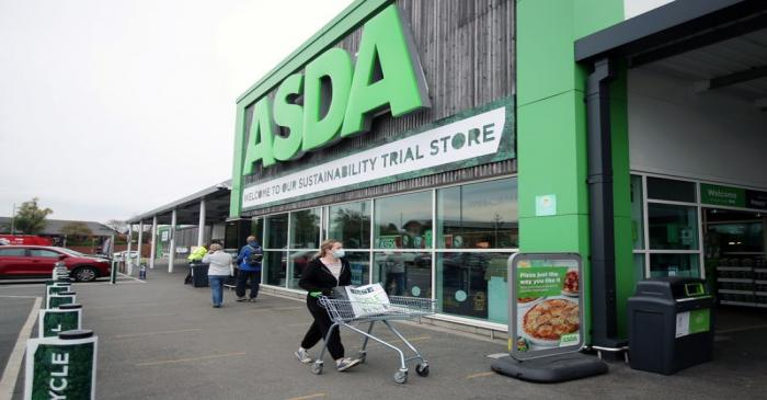A general view shows the UK supermarket Asda, as the store launches a new sustainability