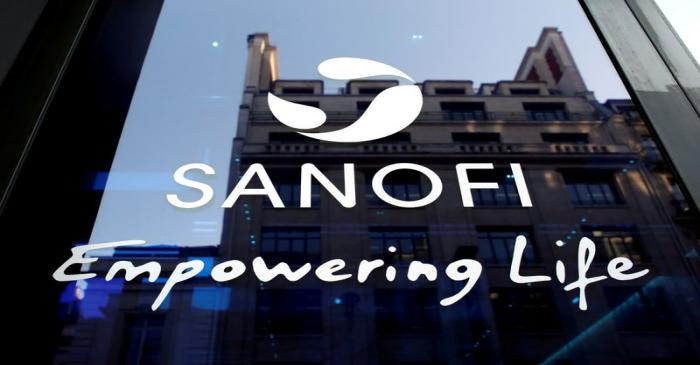 FILE PHOTO: Sanofi logo is seen during the company's annual results news conference in Paris,