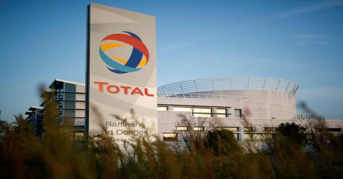 FILE PHOTO: The logo French oil giant Total Refinery is seen in Donges