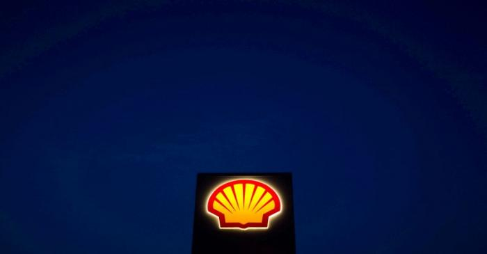 FILE PHOTO: A Shell oil and gas sign is pictured near Nowshera