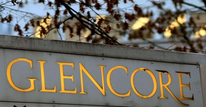 FILE PHOTO: The logo of commodities trader Glencore is pictured in front of the company's