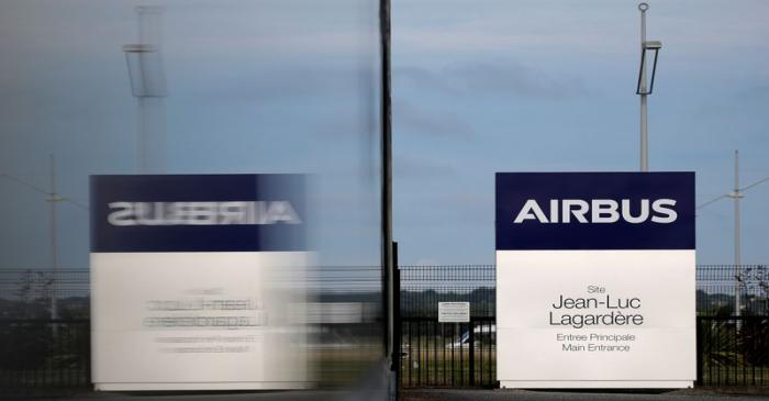 Entrance of the Jean-Luc Lagardere A380 production plant at Airbus headquarters in Blagnac