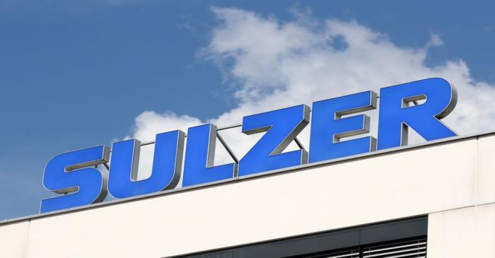 The logo is seen at the plant of Sulzer Mixpac AG of Swiss engineering group Sulzer AG in Haag