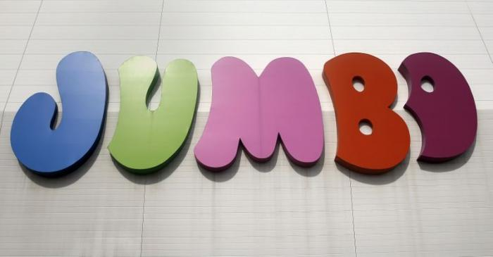 FILE PHOTO: Logo of Jumbo S.A. is displayed on the facade of the company's branch store in