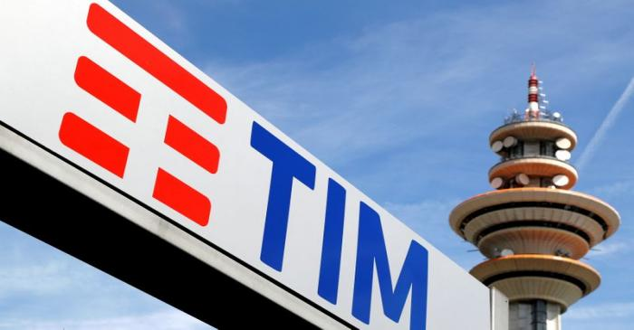 FILE PHOTO: Telecom Italia new logo is seen at the headquarter in Rozzano neighbourhood of