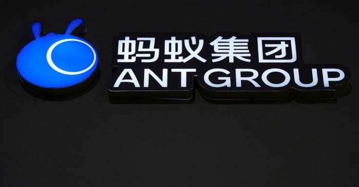 FILE PHOTO: FILE PHOTO: A sign of Ant Group is seen during the World Internet Conference (WIC)