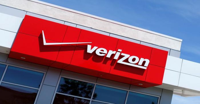 FILE PHOTO: The Verizon logo is seen on one of their retail stores in San Diego, California