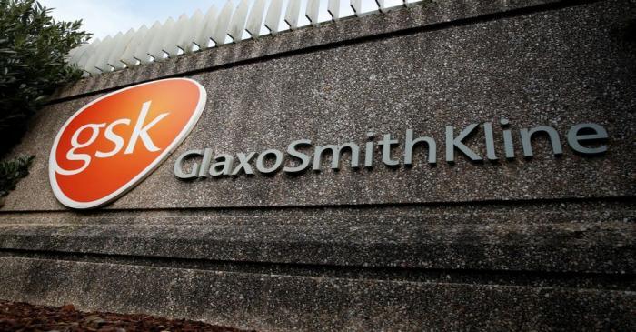 Company logo of pharmaceutical company GlaxoSmithKline is seen at their Stevenage facility