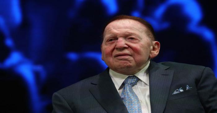 Sheldon Adelson sits onstage before a speech by U.S. President Trump at the Israeli American