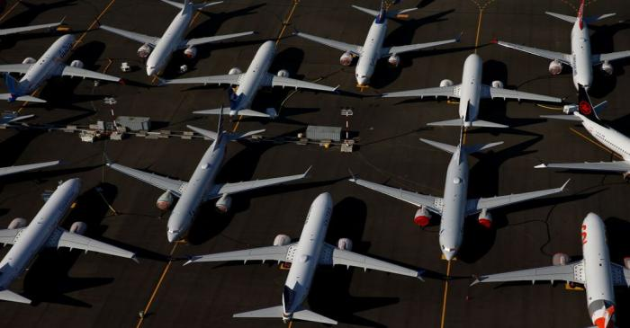 Grounded Boeing 737 MAX aircraft are seen parked at Boeing Field in Seattle