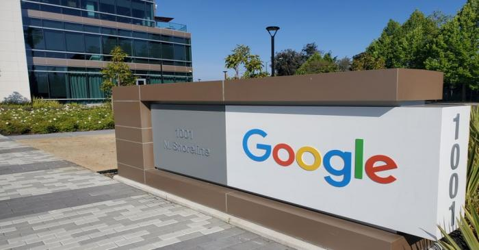 FILE PHOTO: A sign is pictured outs a Google offcie near the company's headquarters in Mountain