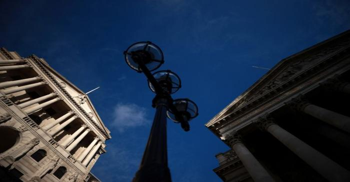 A general view shows the Bank of England and the Royal Exchange Building in London