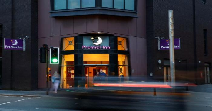 The signage of a Premier Inn Hotel is seen in Liverpool City Centre after the chain announced
