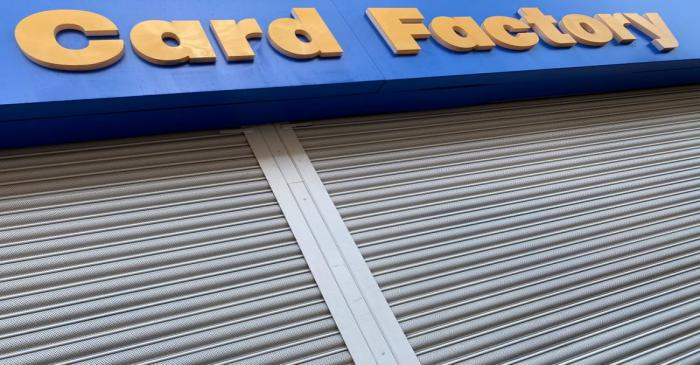 Card Factory signage is seen on a shuttered branch in Hackney