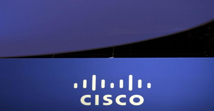 FILE PHOTO: The Cisco Systems logo is seen as part of a display at the Microsoft Ignite