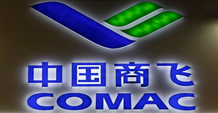 FILE PHOTO:  A COMAC logo is pictured at their booth at the Singapore Airshow