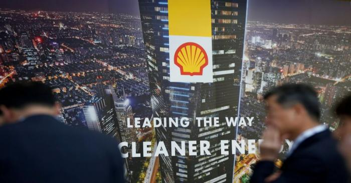 FILE PHOTO: Logo of Royal Dutch Shell is seen at Gastech, the world's biggest expo for the gas
