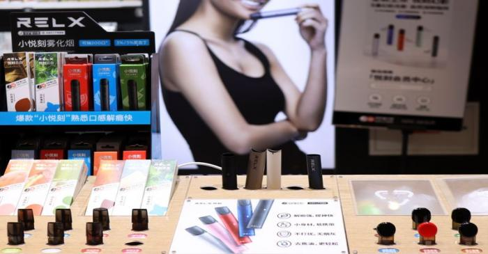 RELX vaping products by RLX Technology Inc are seen displayed at a store inside a shopping mall