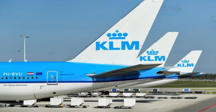 FILE PHOTO: KLM airplanes are seen parked at Schiphol Airport in Amsterdam, Netherlands