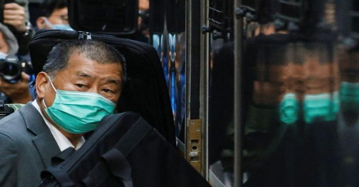 Media tycoon Jimmy Lai, founder of Apple Daily, leaves the Court of Final Appeal, in Hong Kong