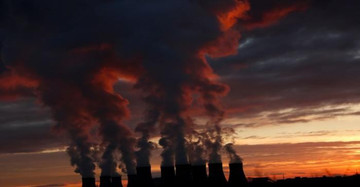 Sunset over Drax power station in North Yorkshire