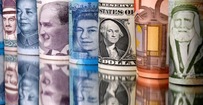 Saudi riyal, yuan, Turkish lira, pound, U.S. dollar, euro and Jordanian dinar banknotes are