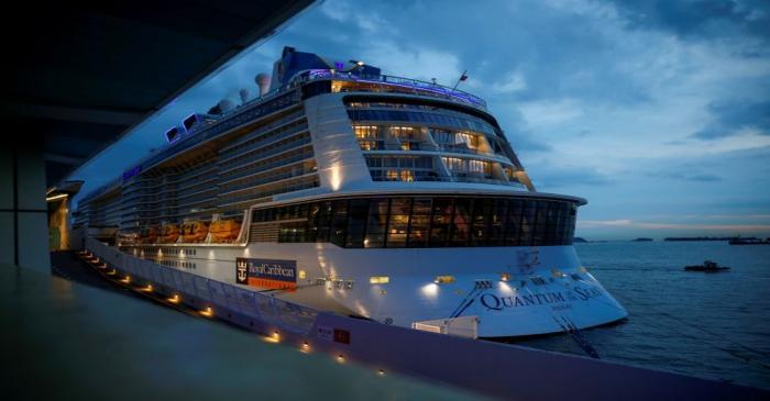 FILE PHOTO: Royal Caribbean's Quantum of the Seas cruise ship docks at Marina Bay Cruise Center