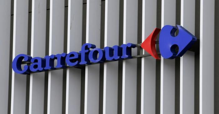 FILE PHOTO: The logo of Carrefour is seen at a Carrefour Hypermarket store in Nice