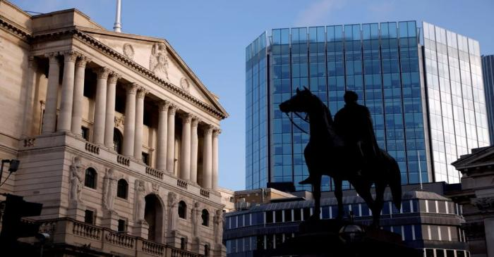 FILE PHOTO: A general view of the Bank of England in the City of London financial district,