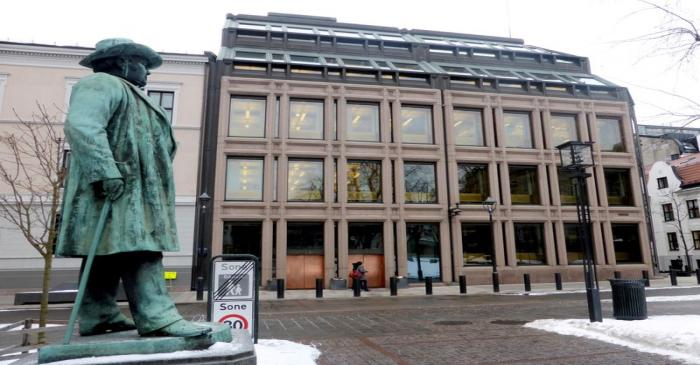 FILE PHOTO: A general view of the Norwegian central bank, where Norway's sovereign wealth fund